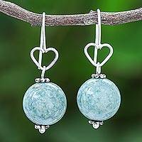 Jade dangle earrings, 'Ethereal Orbs in Green' - Sterling Silver and Jade Bead Heart Dangle Earrings