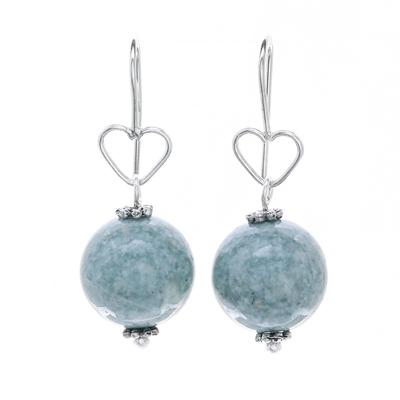 Sterling Silver and Jade Bead Heart Dangle Earrings