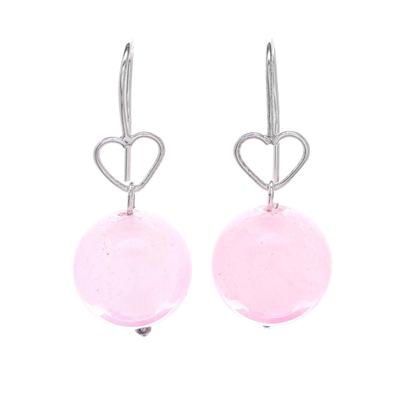 Sterling Silver and Rose Quartz Bead Heart Dangle Earrings