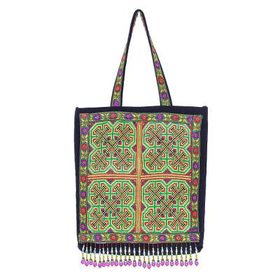 Colorful Cotton Hmong Tote Bag with Magnetic Snap