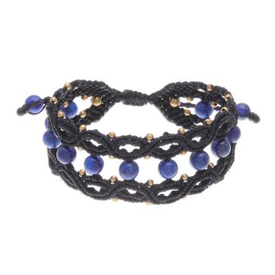 Lapis Lazuli and Brass Macrame Bracelet