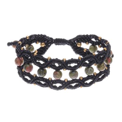 Unakite macrame bracelet, 'Hills and Dales' - Handmade Unakite Macrame Bracelet