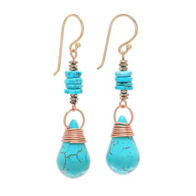 Multi-gemstone dangle earrings, 'Rainshower' - Howlite Pyrite Reconstituted Turquoise Dangle Earrings