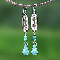 Rhodium-plated quartz beaded dangle earrings, 'Chiang Rai Glitter' - Multi-Gemstone Beaded Dangle Earrings