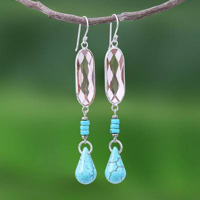 Rhodium-plated quartz beaded dangle earrings, 'Chiang Rai Glitter' - Multi-Gemstone Beaded Dangle Earrings