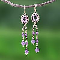 Gold plated amethyst waterfall earrings, 'Chiang Rai Twilight'