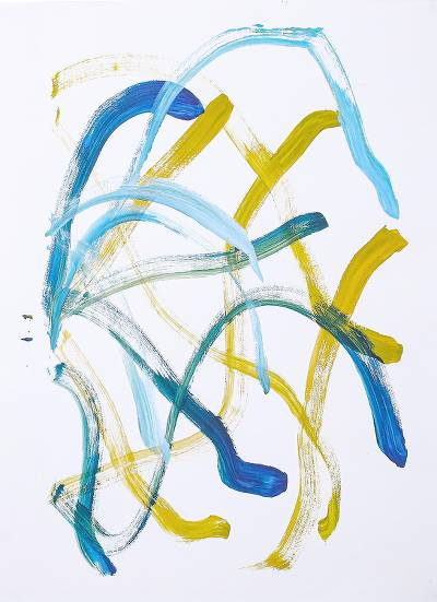 Elephant painting, 'Smooth Coral' - Abstract Painting in Blue & Yellow by an Elephant Artist