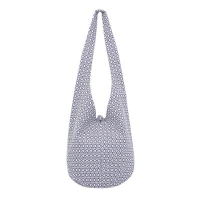 Blue and White Cotton Hobo Handbag
