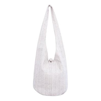 Alabaster White Cotton Hobo Handbag