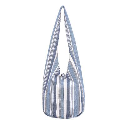 Blue and White Striped Cotton Hobo Handbag