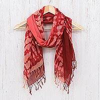 Cotton scarves, 'Warmth of Love' (pair) - Pair of Cotton Scarves in Shades of Pink