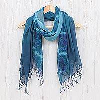 Cotton scarves, 'Sea of Love' (pair)