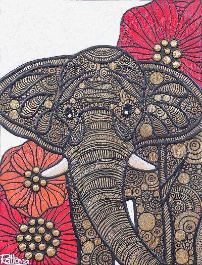 'Elephant Thailand' - Elephant and Flower Painting from Thai Artist