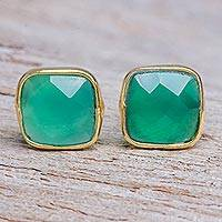 Gold plated onyx button earrings, 'Green Sea' - Hand Made Gold Plated Sterling Silver Onyx Button Earrings