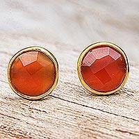 Gold plated carnelian button earrings, 'Fiery Day' - Gold Plated Sterling Silver Carnelian Button Earrings