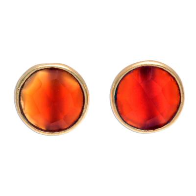 Gold plated carnelian button earrings, 'Fiery Day' - Gold Plated Sterling Silver Carnelian Button Earrings