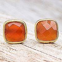 Gold plated carnelian button earrings, 'Fiery Night' - Gold Plated Sterling Silver Carnelian Button Earrings