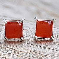 Carnelian stud earrings, 'Good Luck Charm in Orange' - Thai Hand Made Sterling Silver Carnelian Stud Earrings