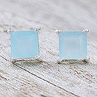 Chalcedony stud earrings, 'Good Luck Charm in Blue' - Thai Hand Made Sterling Silver Chalcedony Stud Earrings
