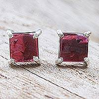 Garnet button earrings, 'Good Luck Charm in Crimson' - Thai Hand Made Sterling Silver Garnet Stud Earrings