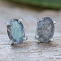 Labradorite stud earrings, 'Oblong Moon' - Thai Hand Made Sterling Silver Labradorite Stud Earrings