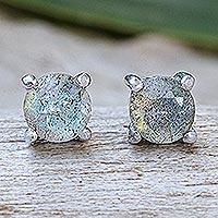 Labradorite stud earrings, 'Circle Moon' - Thai Hand Made Sterling Silver Labradorite Stud Earrings