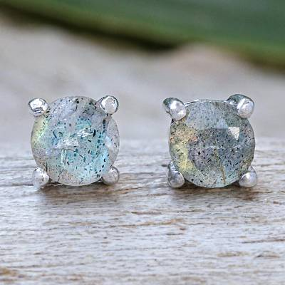 Labradorite stud earrings, 'Circle Moon' - Thai Hand Made Sterling Silver Labradorite Stud Earrings