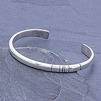 Sterling silver Unity Bracelet, 'Living In Unity' - Slender Thai Unity Bracelet Cuff Crafted of Sterling Silver