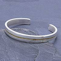 Sterling silver Unity Bracelet, 'Unity is Golden' - Slender Thai Unity Bracelet Cuff Crafted of Sterling Silver