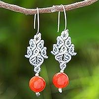 Chalcedony bead dangle earrings, 'Smooth Sunset' - Hand-Knotted Polyester Cord and Chalcedony Dangle Earrings