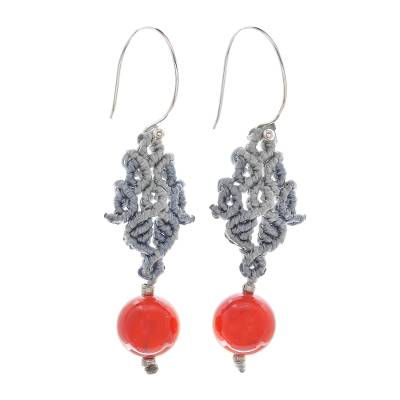 Hand-Knotted Polyester Cord and Chalcedony Dangle Earrings