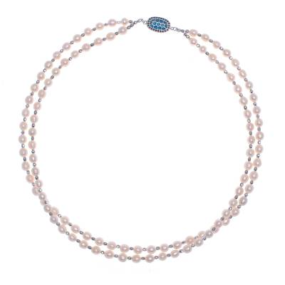 Cultured pearl and rhodium-plated brass beaded necklace, 'Ocean Peach' - Cultured Pearl and Rhodium Plated Brass Beaded Necklace