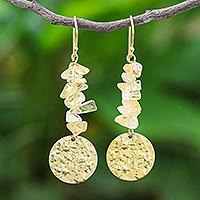 Citrine dangle earrings, 'Golden Coin in Yellow' - Citrine and Brass Coin Dangle Earrings