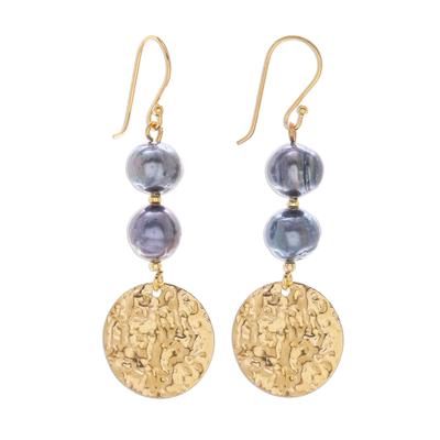 Cultured pearl dangle earrings, 'Golden Coin in Black' - Cultured Black Pearl and Brass Coin Dangle Earrings
