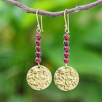 Garnet dangle earrings, 'Golden Coin in Red' - Natural Garnet Bead and Brass Coin Dangle Earrings