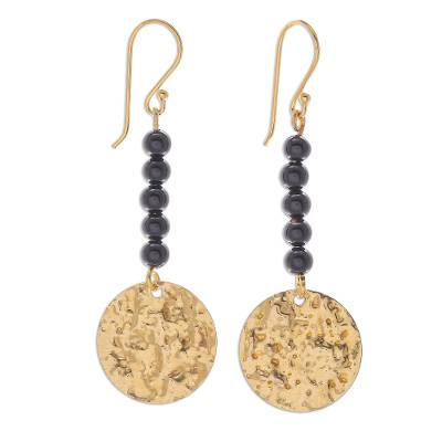 Onyx dangle earrings, 'Golden Coin in Midnight' - Black Onyx Bead and Brass Coin Dangle Earrings