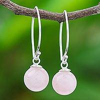 Rose quartz drop earrings, 'Luna in Pink' - Rose Quartz Sterling Silver Drop Earrings