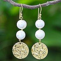 Cultured pearl dangle earrings, 'Golden Coin in White' - Cultured Pearl and Brass Coin Dangle Earrings