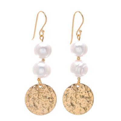 Cultured pearl dangle earrings, 'Golden Coin in White' - Cultured Pearl and Brass Coin Dangle Earrings