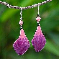 Orchid petal dangle earrings, 'Forever Orchid in Fuchsia' - Fuchsia Orchid Petal Earrings