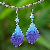 Orchid petal dangle earrings, 'Forever Orchid in Blue' - Blue Orchid Petal Earrings from Thailand