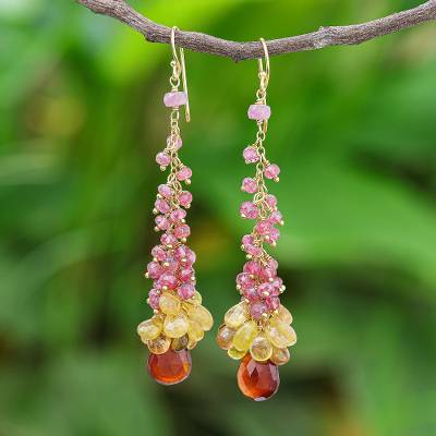 Gold-plated multi-gemstone dangle earrings, 'Bring the Bubbly' - Ruby Sapphire Garnet Gold Plated Dangle Earrings