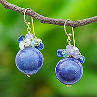 Multi-gemstone dangle earrings, 'Cerulean Galaxy' - Multi-Gemstone and Tanzanite Dangle Earrings