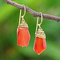 Gold plated carnelian dangle earrings, 'Warm Sunset' - Handmade Gold Plated Carnelian Dangle Earrings