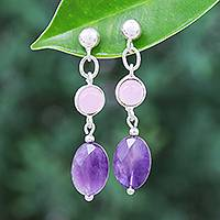 Amethyst and rose quartz dangle earrings, 'Lilac Season' - Rose Quartz and Faceted Amethyst Post Dangle Earrings