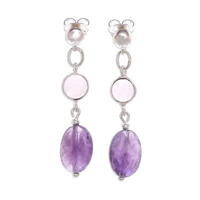 Amethyst and rose quartz dangle earrings, 'Lilac Season' - Rose Quartz and Faceted Amethyst Post Dangle Earrings
