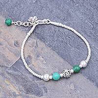 Sterling silver beaded bracelet, 'Flora Bead in Turquoise'