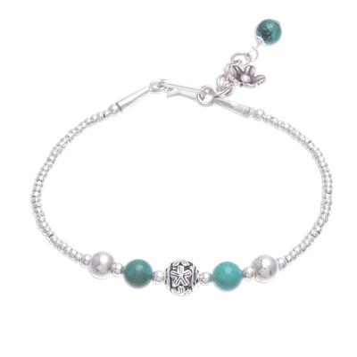 Sterling silver beaded bracelet, 'Flora Bead in Turquoise' - Sterling Silver Reconstituted Turquoise Beaded Bracelet