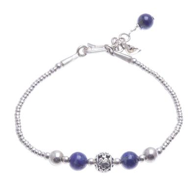 Hand Threaded Sterling Silver Lapis Lazuli Beaded Bracelet