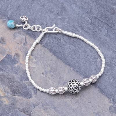 Apatite beaded bracelet, 'In Bloom in Silver' - Sterling Silver and Karen Silver Beaded Bracelet